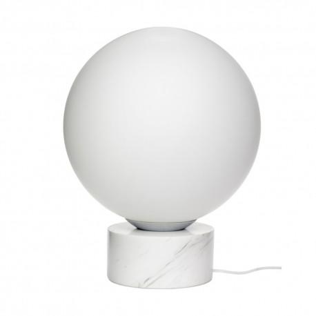 hubsch lampe de sol boule blanche socle marbre 990836