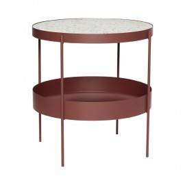 hubsch table basse ronde metal rouge terrazzo blanc 990814