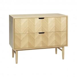 hubsch commode scandinave 2 tiroirs bois chene clair 880804