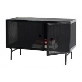 hubsch meuble bas de rangement metal noir perfore style industriel