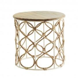 madam stoltz table basse ronde manguier bambou tresse metal blanc