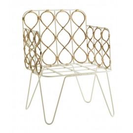 Chaise rétro en métal blanc bambou Madam Stoltz