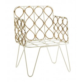 madam stoltz chaise retro en metal blanc bambou