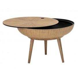 bloomingville ronda table basse ronde bois rangement plateau amovible