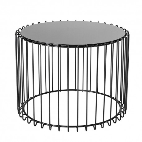 Table basse ronde graphique métal verre noir Bloomingville Cal