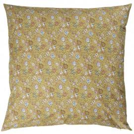 Housse de coussin coton fleurie jaune IB Laursen