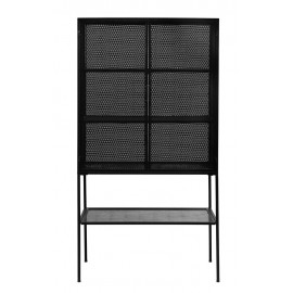 Meuble vitrine métal noir perforé style industriel Nordal Wire