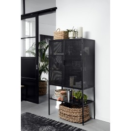 nordal meuble vitrine metal noir perforé style industriel wire