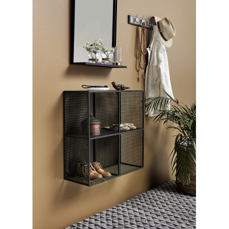 nordal etagere murale metal perfore noir 4 cubes compartiments  wire 1098