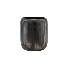 house doctor utla vase strie marron noir verre pd0621