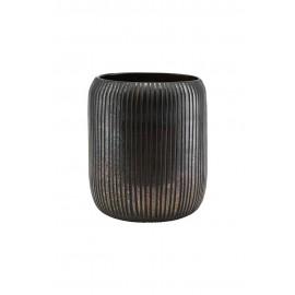 Vase verre strié marron noir House Doctor Utla