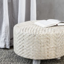house doctor weave tabouret rond rotin tresse bois id0991