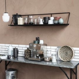 house doctor wired etagere murale bois manguier metal noir br0411