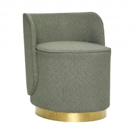 hubsch pouf avec dossier chic tissu vert base en metal laiton 100801