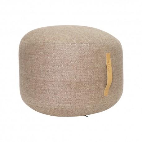 hubsch pouf rond laine motif a chevrons poignee cuir 700804