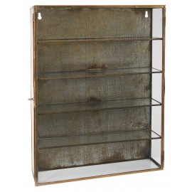 ib laursen vitrine murale verre metal laiton vintage brocante 0823-17