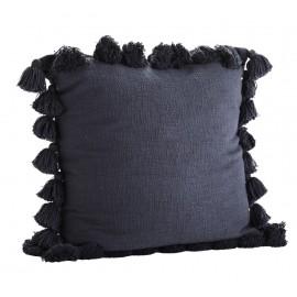 Grande housse de coussin coton bleu pompons Madam Stoltz