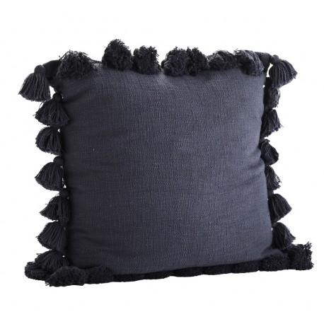 madam stoltz grande housse de coussin coton bleu pompons 65 x 65 cm