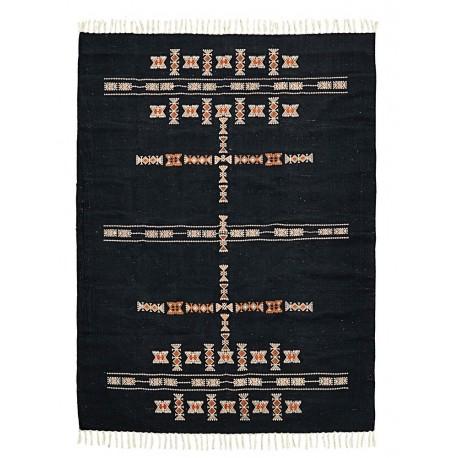 house doctor mila tapis de salon noir motif ethnique ad0999-140x200