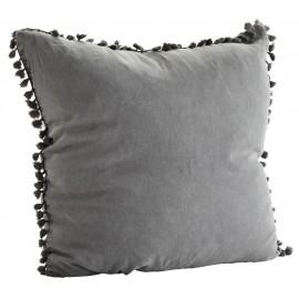 Grande housse de coussin carrée lin lavé gris pompons Madam Stoltz