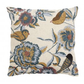 nordal housse de coussin brodee fleurs oiseaux 6864