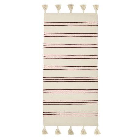bloomingville tapis descente de lit raye coton blanc rouge 32708242