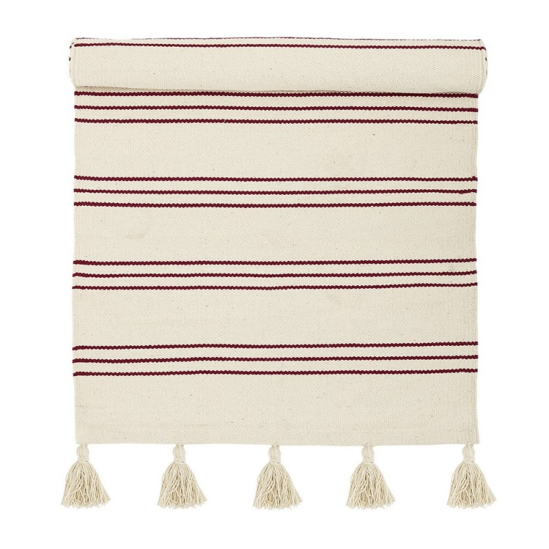 bloomingville tapis descente de lit raye coton blanc rouge. Black Bedroom Furniture Sets. Home Design Ideas