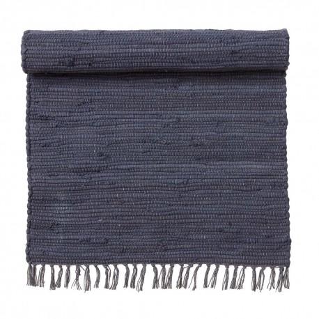bungalow denmark tapis descente de lit chindi coton recycle bleu indigo