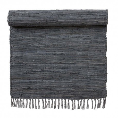 Tapis descente de lit chindi coton recyclé gris Bungalow Denmark