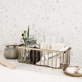 Panier étagère salle de bains métal laiton House Doctor Bath