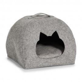 Cabane pour chat niche feutre gris avec coussin