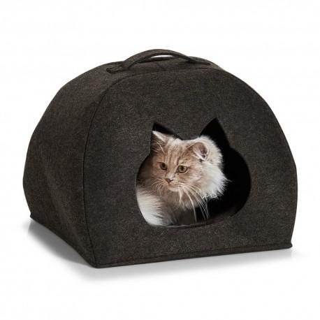 panier pour chat cabane feutre gris fonce 14377