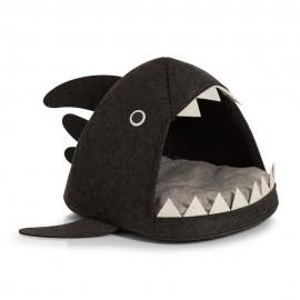 Cabane niche pour chat en forme de requin feutre gris foncé