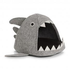 Niche pour chat en forme de requin feutre gris Zeller