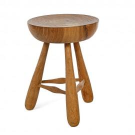 pols potten lait tabouret bois sculpte artisanal 500-030-049