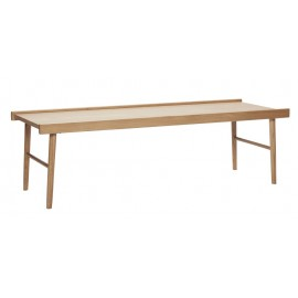 hubsch table basse rectangulaire scandinave annees 60 bois clair