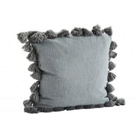 Housse de coussin carrée pompons coton gris Madam Stoltz