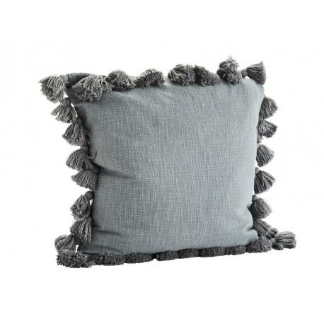 madam stoltz housse de coussin carree pompons coton gris 65 x 65 cm