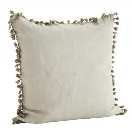 madam stoltz housse de coussin lin lave gris clair 60 x 60 cm