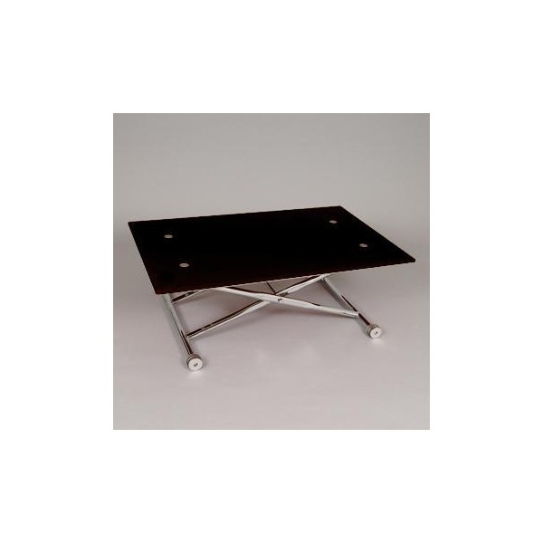 Table basse relevable verre noir design klip - Table relevable design ...