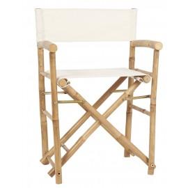 ib laursen chaise pliante accoudoirs bois bambou toile blanche 2297-00
