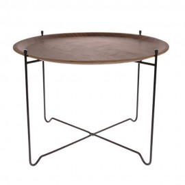 hk living table d appoint ronde plateau amovible bois metal mta2821