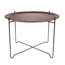 Table d'appoint ronde plateau amovible bois métal HK Living