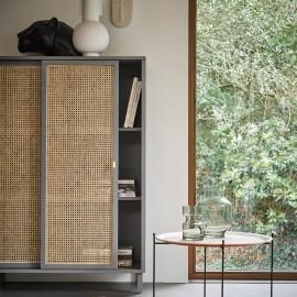 hk living table d appoint ronde plateau amovible bois metal mta2821