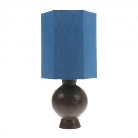 Abat-jour hexagonal pour lampe de table lin bleu HK Living