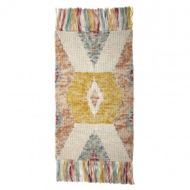 Tapis en laine franges multicolore Bloomingville