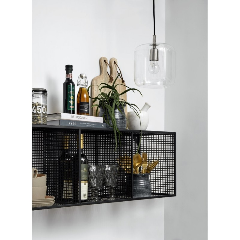 nordal etagere murale style industriel metal noir grillage. Black Bedroom Furniture Sets. Home Design Ideas