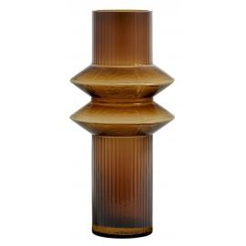 Vase rétro style art déco verre ambre Nordal