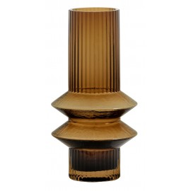 nordal vase verre ambre style retro art deco 9076 rilla