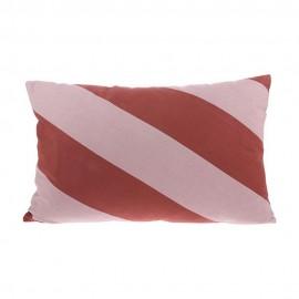 Coussin rectangulaire coton rayé rouge HK Living